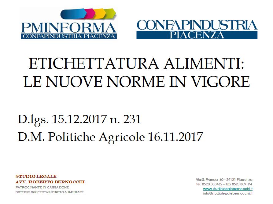 ETICHETTATURA ALIMENTI: LE NUOVE NORME IN VIGORE – D.lgs. 15.12.2017 n. 231 e D.M. Politiche Agricole 16.11.2017